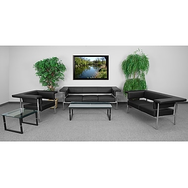 Flash Furniture Hercules Fusion Series Reception Set, Black (ZB8811SETBK)