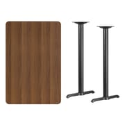 Flash Furniture 30''L x 45''W Rectangular Laminate Table with 5''W x 22''L Bar Height Table Bases, Walnut (XUWA3045T0522B)