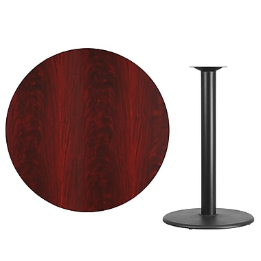 Flash Furniture 42'' Round Laminate Table Top, Mahogany with 24'' Round Bar-Height Table Base (XURD42MATR24B)