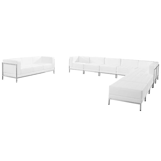Flash Furniture  Hercules Imagination Series Leather Sectional and Sofa Set, 10 Pieces, White (ZBIMAGSET19WH)