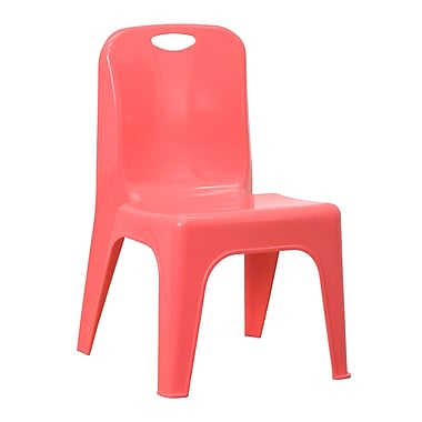 Flash Furniture Plastic Stackable School Chair with Carrying Handle and 11'' Seat Height, Red (YUYCX011RED)