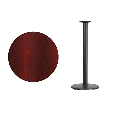 Flash Furniture 30'' Round Mahogany Laminate Table Top with 18'' Round Bar Height Table Base, Black (XURD30MATR18B)