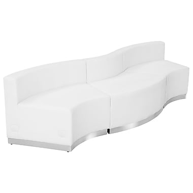 Flash Furniture Hercules Alone Series Leather Reception Configuration, White, 3 Pieces (ZB803720SWH)