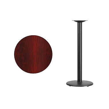 Flash Furniture 24'' Round Laminate Table Top, Mahogany with 18'' Round Bar-Height Table Base (XURD24MATR18B)