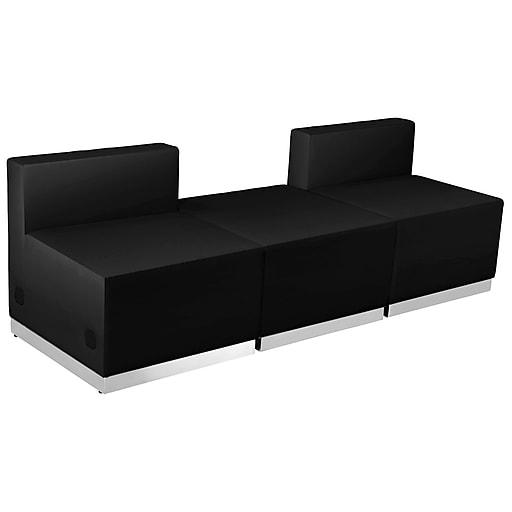 Flash Furniture  Hercules Alon Series Leather Reception Configuration, Black, 3 Pieces (ZB803670SBK)