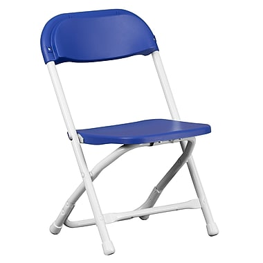 Flash Furniture Kids Blue Plastic Folding Chair, White Powder Coated Frame Finish, (YKIDBL)