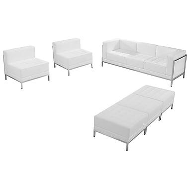 Flash Furniture – Ensemble HERCULES Imagination avec divan, sièges et poufs, cuir blanc (ZBIMAGSET20WH)