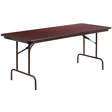 Flash Furniture 30'' x 72'' Rectangular Folding Banquet Table, Mahogany High-Pressure Laminate (YT3072HIGHWAL)