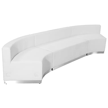 Flash Furniture Hercules Alone Series Leather Reception Configuration in White, 3 Pieces (ZB803770SWH)