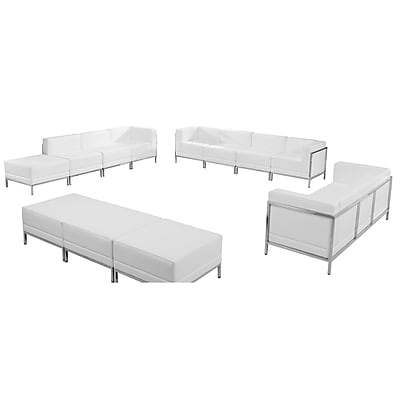 Flash Furniture Hercules Imagination Series Leather Sofa, Lounge and Ottoman Set, White, 12 Pieces (ZBIMAGSET21WH)
