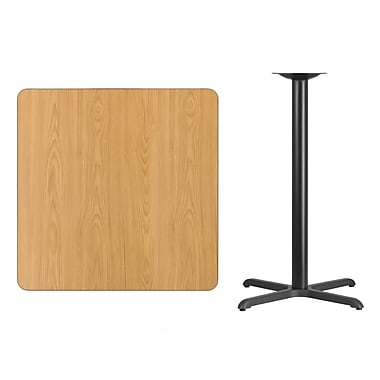 Flash Furniture 36'' Square Laminate Table Top, Natural with 30'' x 30'' Bar-Height Table Base (XUNT3636T3030B)