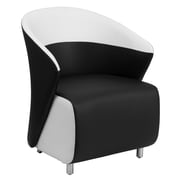 Flash Furniture Leather Reception Chair, Black with White Detailing (ZB7BKWH)