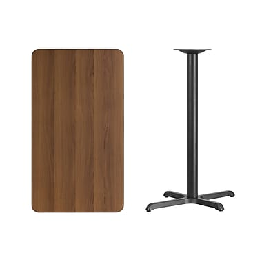 Flash Furniture 24'' x 42'' Rectangular Laminate Table Top, Walnut with 22'' x 30'' Bar-Height Table Base (XUWA2442T2230B)