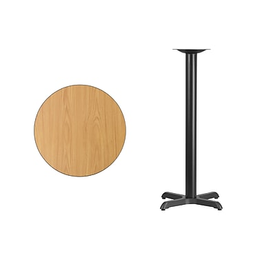 Flash Furniture 24'' Round Laminate Table Top, Natural with 22'' x 22'' Bar-Height Table Base (XURD24NTT2222B)