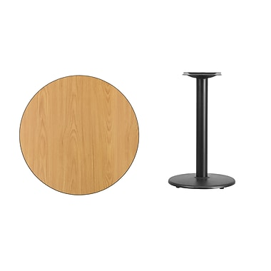 Flash Furniture – Table ronde en stratifié fini naturel de 30 po avec base circulaire de 18 po (XURD30NTTR18)