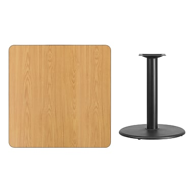 Flash Furniture 36'' Square Laminate Table Top, Natural with 24'' Round Table-Height Base (XUNT3636TR24)