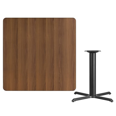 Flash Furniture 42'' Square Laminate Table Top, Walnut with 33'' x 33'' Table-Height Base (XUWA4242T3333)