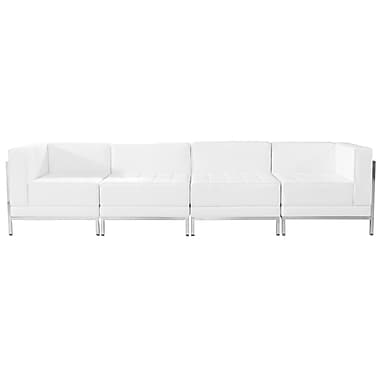 Flash Furniture – Mobilier de salon HERCULES Imagination, cuir blanc, 4 modules (ZBIMAGSET8WH)
