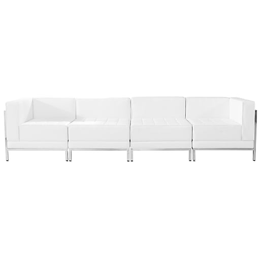 Flash Furniture  Hercules Imagination Series Leather 4-Piece Lounge Set, White (ZBIMAGSET8WH)