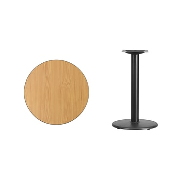 Flash Furniture – Table ronde en stratifié fini naturel de 24 po avec base circulaire de 18 po (XURD24NTTR18)