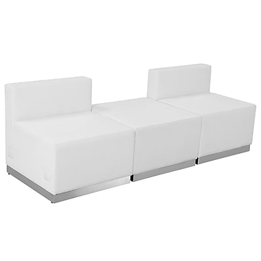Flash Furniture Hercules Alone Series Leather Reception Configuration, White, 3 Pieces (ZB803670SWH)