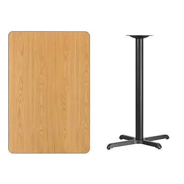 Flash Furniture – Table bistro en stratifié au fini naturel de 30 x 45 po avec base de 22 x 30 po (XUNT3045T2230B)
