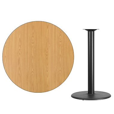 Flash Furniture 42'' Round Laminate Table Top, Natural with 24'' Round Bar-Height Table Base (XURD42NTTR24B)