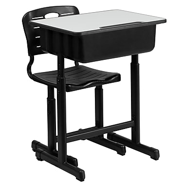 Flash Furniture Adjustable-Height Student Desk and Chair with Black Pedestal Frame (YUYCX04609010)