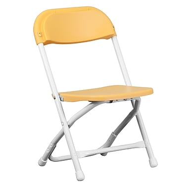 Flash Furniture Kids Folding Chair, Yellow Plastic (YKIDYL)