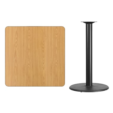 Flash Furniture 36'' Square Laminate Table Top, Natural with 24'' Round Bar-Height Table Base (XUNT3636TR24B)
