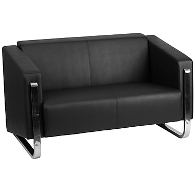 Flash Furniture – Causeuse contemporaine en cuir série HERCULES Gallant, noir avec pattes en inox (ZB88032LSBK)
