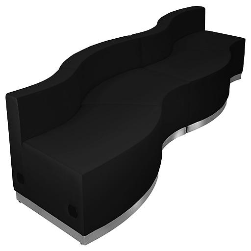 Flash Furniture  Hercules Alon Series Leather Reception Configuration, 4 Pieces, Black (ZB803730SBK)