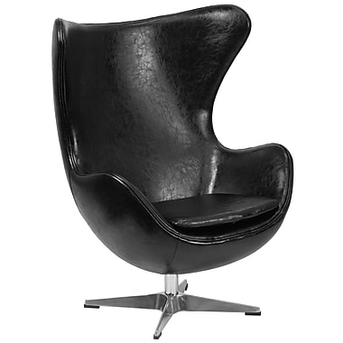 Flash Furniture Black Leather Egg Chair, Tilt-Lock Mechanism (ZB9)