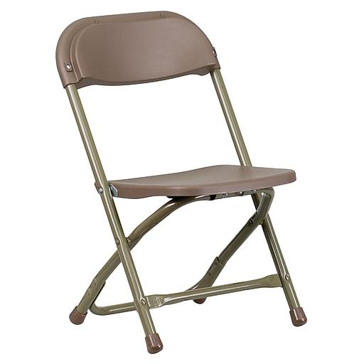 Flash Furniture Kids Brown Plastic Folding Chair, Gold Powder Coated Frame Finish, Each (YKIDBN)