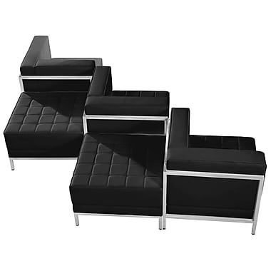Flash Furniture – Mobilier modulaire HERCULES Imagination, chaises et pouf, cuir noir, 5 modules (ZBIMAGSET5)