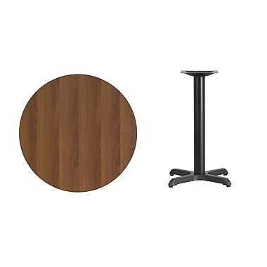 Flash Furniture 30'' Round Walnut Laminate Table Top with 22'' x 22'' Table Height Base (XURD30WAT2222)