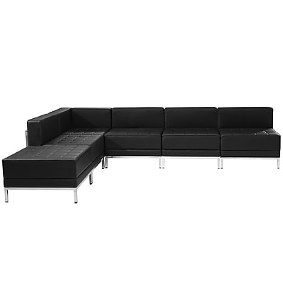 Flash Furniture Hercules Imagination Series Leather Sectional Configuration, Black, 6/Pieces, ZBIMAGSECTSET10
