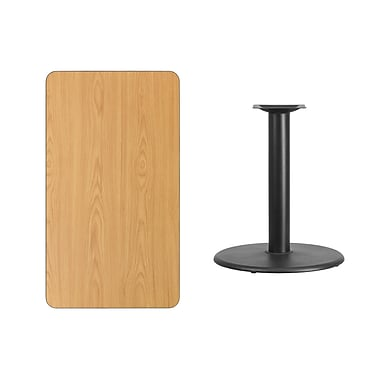 Flash Furniture 24'' x 42'' Rectangular Laminate Table Top, Natural with 24'' Round Table Height Base (XUNT2442TR24)