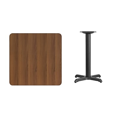 Flash Furniture 30'' Square Laminate Table Top, Walnut with 22'' x 22'' Table-Height Base (XUWA300T2222)