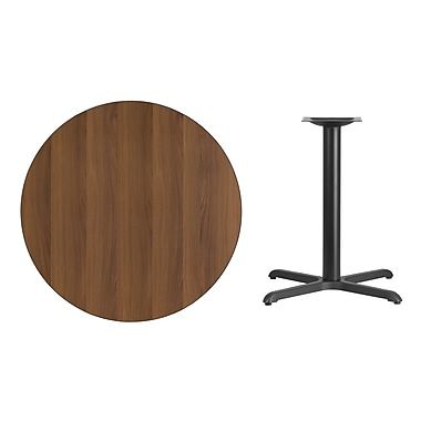 Flash Furniture 36''L Round Laminate Table with 30''W X Base, Walnut (XURD36WAT3030)