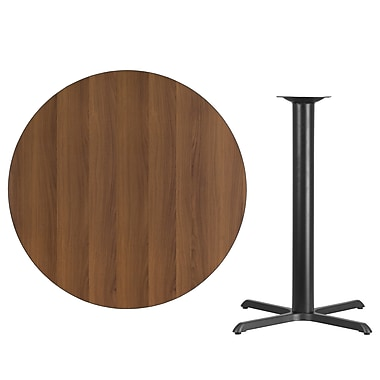 Flash Furniture – Table bistro ronde en stratifié de 42 po avec base de 33 x 33 po, noyer (XURD42WAT3333B)