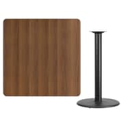 "Flash Furniture 42"" Square Walnut Laminate Table Top with 24"" Round Bar Height Table Base, Black Finish (XUWA4242TR24B)"