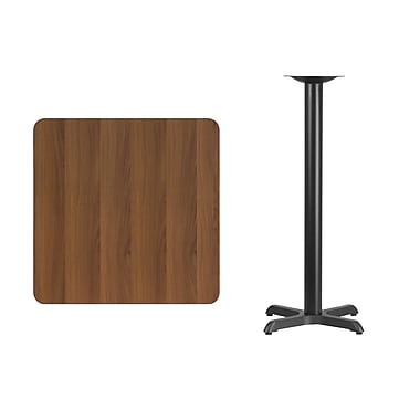 Flash Furniture – Table bistro carrée en stratifié noyer de 30 po avec base de 22 x 22 po (XUWA3030T2222B)