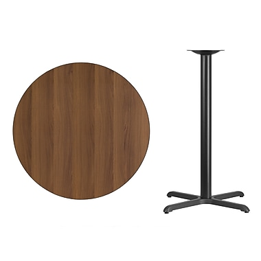 Flash Furniture 36'' Round Laminate Table Top, Walnut with 30'' x 30'' Bar-Height Table Base (XURD36WAT3030B)