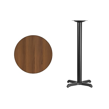 Flash Furniture 24'' Round Laminate Table Top, Walnut with 22'' x 22'' Bar Height Table Base (XURD24WAT2222B)