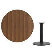 Flash Furniture 42'' Round Laminate Table Top, Walnut with 24'' Round Table-Height Base (XURD42WATR24)