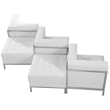 Flash Furniture – Mobilier modulaire HERCULES Imagination, chaises et pouf, cuir blanc, 5 modules (ZBIMAGSET5WH)