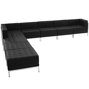 Flash Furniture Hercules Imagination Series Leather Sectional Configuration, 9 Pieces, Black (ZBIMAGSECTSET11)