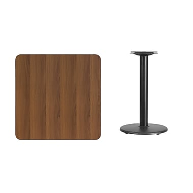 Flash Furniture – Table carrée en stratifié noyer de 30 po avec base circulaire de 18 po (XUWA3030TR18)