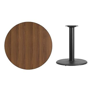Flash Furniture 36'' Round Laminate Table Top, Walnut with 24'' Round Table-Height Base (XURD36WATR24)